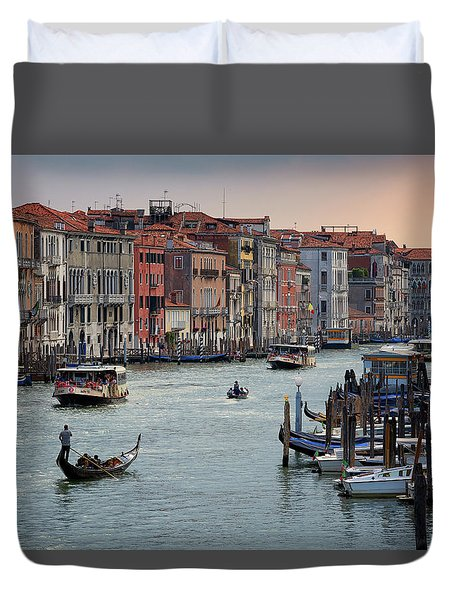 Grand Canal Gondolier Venice Italy Sunset Duvet Cover