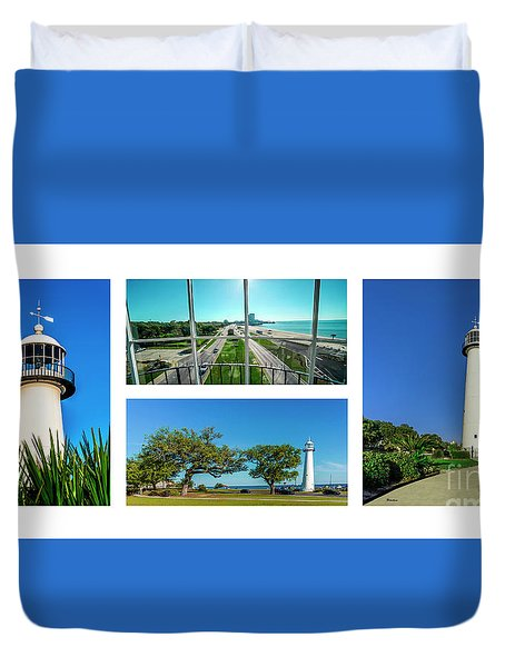Grand Old Lighthouse Biloxi Ms Collage A1a Duvet Cover