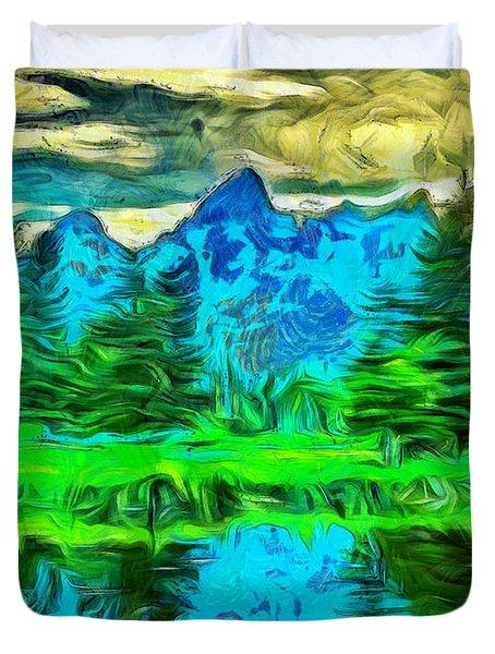 Grand Tetons Morning Reflection Duvet Cover