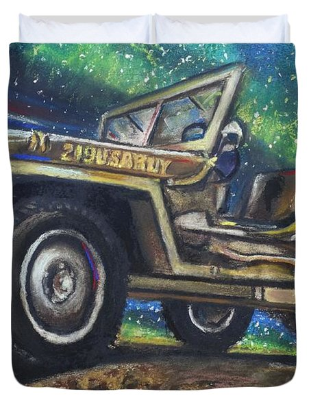Grandpa Willie's Willys Jeep Duvet Cover