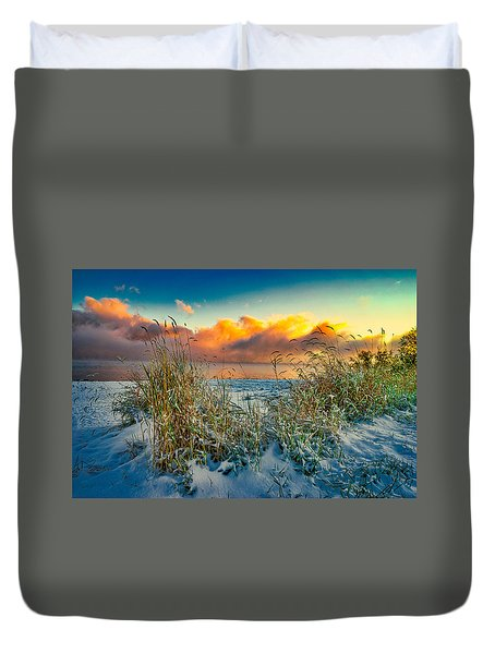 Grass And Snow Sunrise Duvet Cover