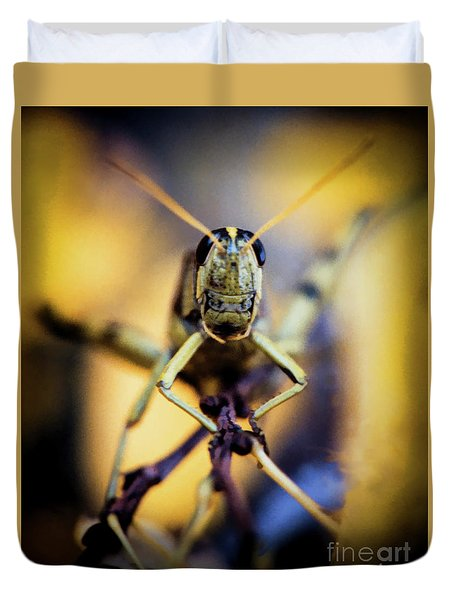 Duvet Cover featuring the photograph Grasshopper by Jon Burch Photography