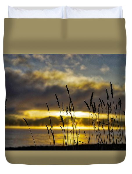 Grassy Shoreline Sunrise Duvet Cover