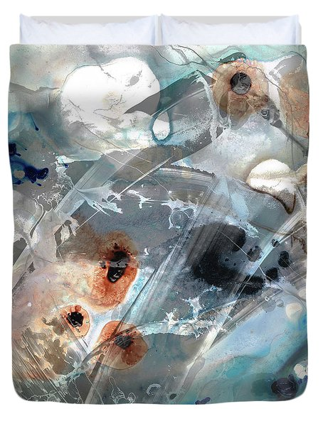 Gray And Blue Abstract Art - Enchanted Journey Duvet Cover