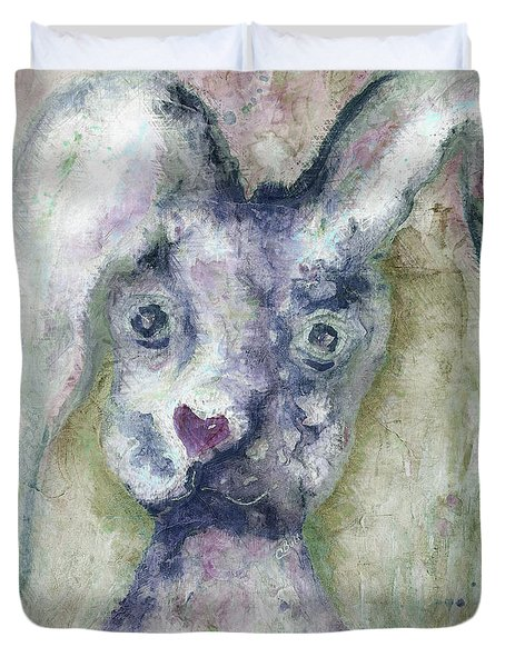 Duvet Cover featuring the painting Gray Bunny Love by Claire Bull