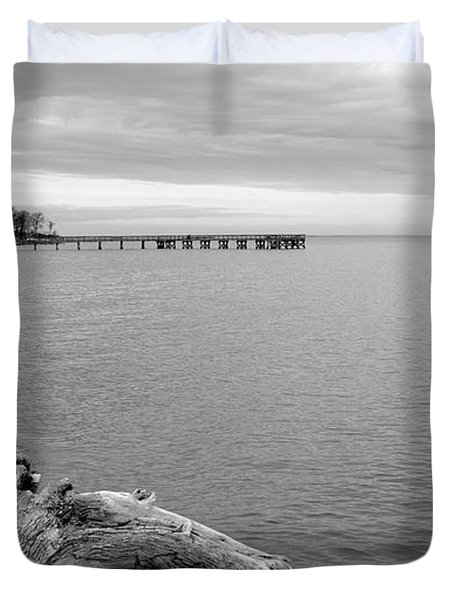 Gray Day On The Bay Duvet Cover