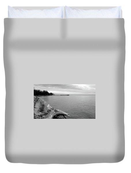 Gray Day On The Bay Duvet Cover