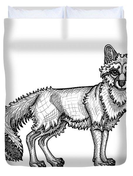 Gray Fox Duvet Cover