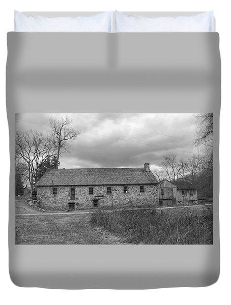 Grey Skies Over Fieldstone - Waterloo Village Duvet Cover