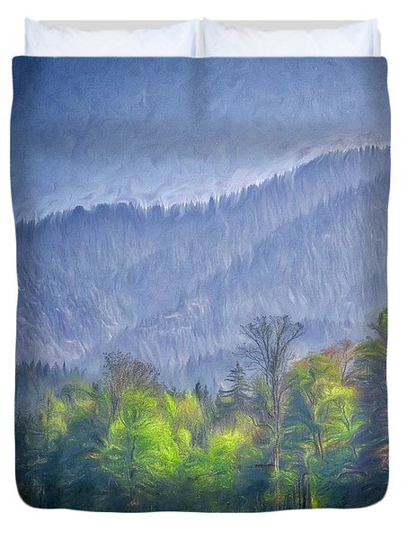 Duvet Cover featuring the digital art Grazing Horses by Edmund Nagele