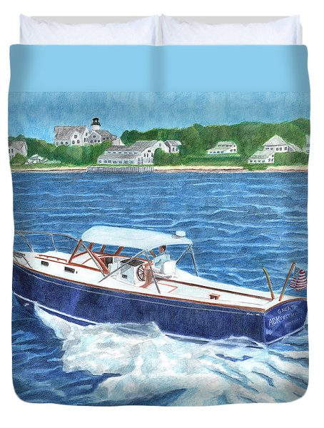 Duvet Cover featuring the painting Great Ackpectations Nantucket by Dominic White