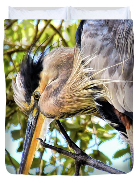 Great Blue Heron Close Up Duvet Cover