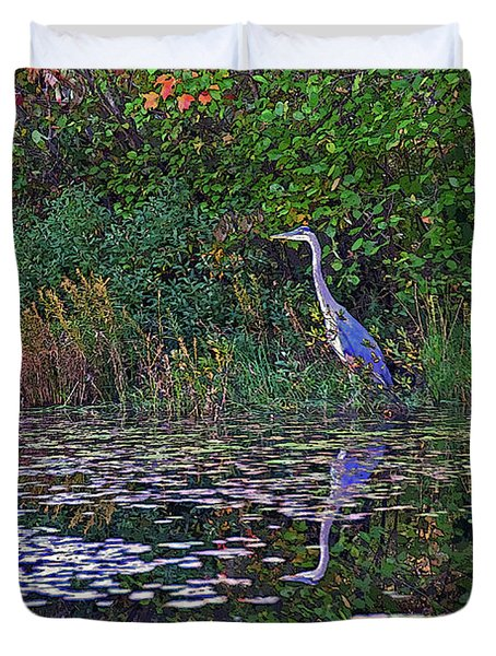 Great Blue Heron In Autumn Duvet Cover