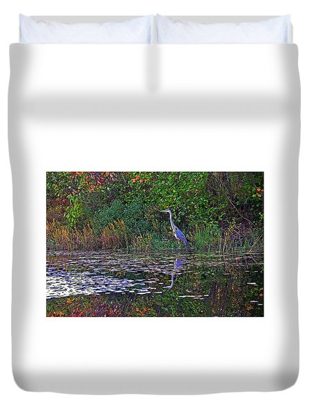 Duvet Cover featuring the photograph Great Blue Heron In Autumn by Wayne Marshall Chase