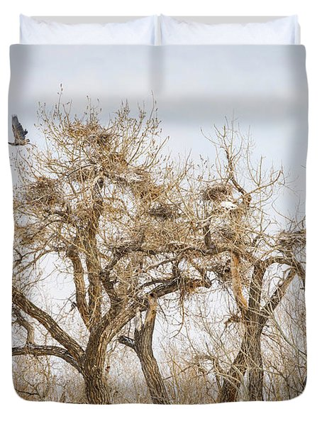Great Blue Heron Rookery Duvet Cover