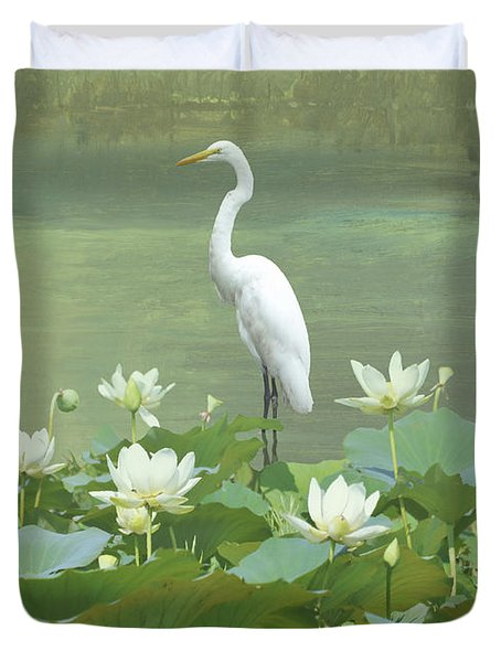 Great Egret And Lotus Flowers Duvet Cover
