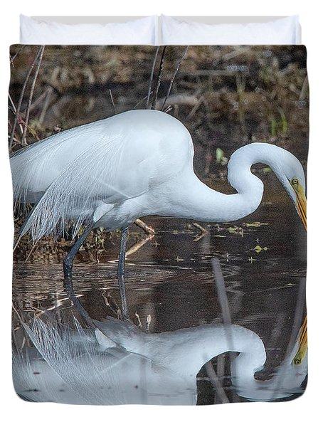 Great Egret In Breeding Plumage Dmsb0154 Duvet Cover