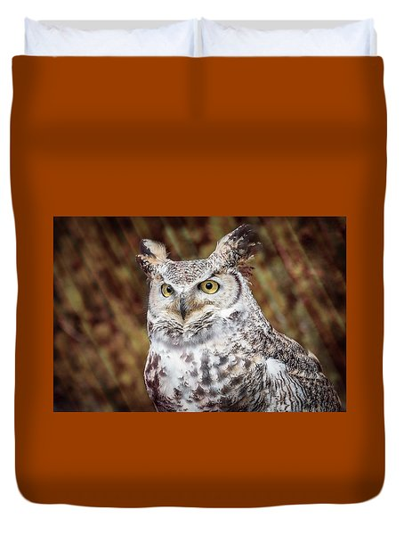 Duvet Cover featuring the photograph Great Horned Owl Portrait by Patti Deters