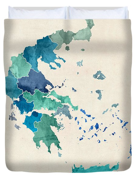 Greece Watercolor Map Custom Text Duvet Cover