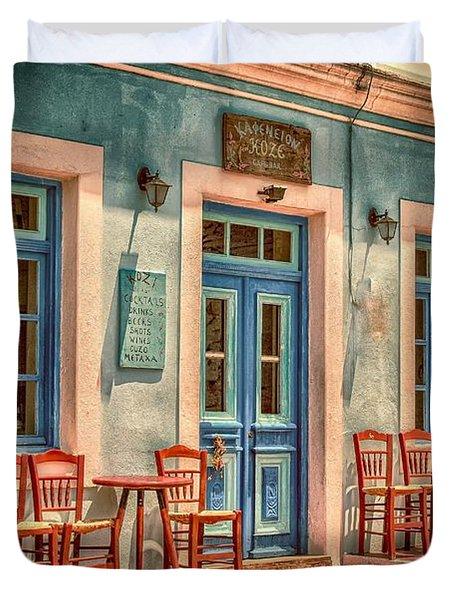 Greek Cafe Colorful Vintage Storefronts Duvet Cover
