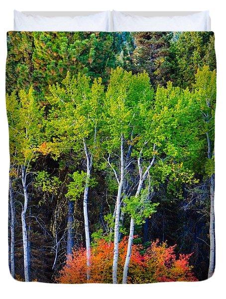 Green Aspens Red Bushes Duvet Cover