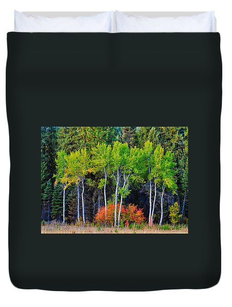 Green Aspens Red Bushes Duvet Cover