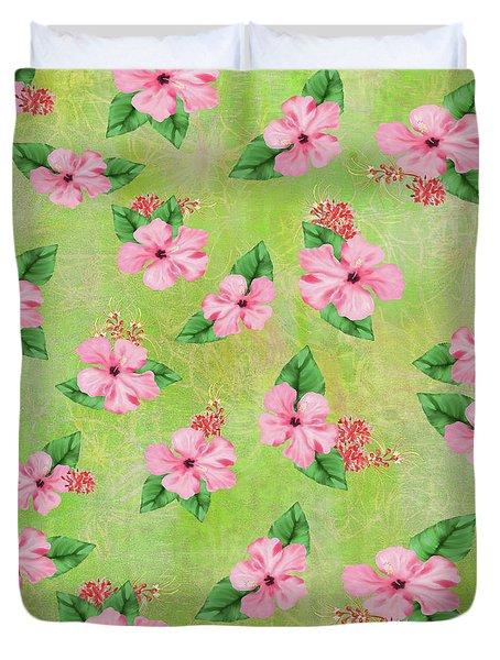 Green Batik Tropical Multi-foral Print Duvet Cover