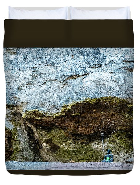 Green Buddha And The Flying Trapeze Duvet Cover