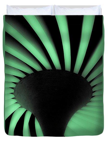 Green Fan Ceiling Duvet Cover