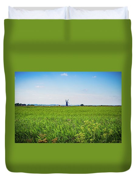 Duvet Cover featuring the photograph Green Grass Field With Windmill On Horizon by Scott Lyons