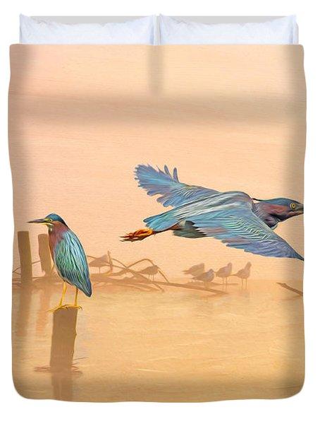 Green Heron Sunrise Duvet Cover