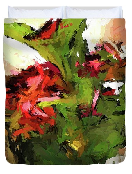 Green Leaves And The Red Flower Duvet Cover