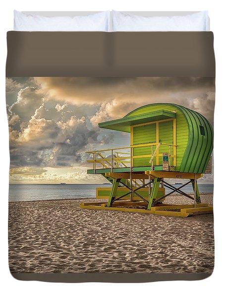 Green Lifeguard Stand Duvet Cover