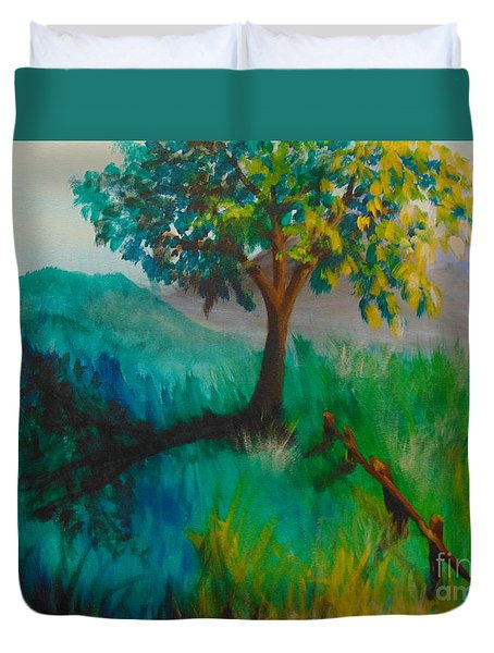 Duvet Cover featuring the painting Green Pastures by Saundra Johnson
