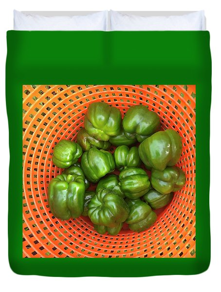 Green Pepper Bushel Duvet Cover