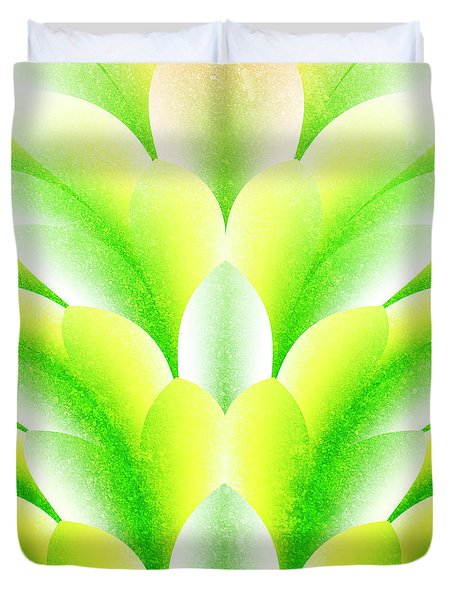 Green Petals Duvet Cover