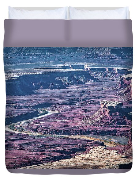 Duvet Cover featuring the photograph Green River Moonscape by Andy Crawford