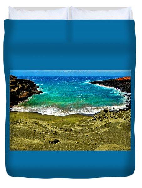 Green Sand Beach Duvet Cover
