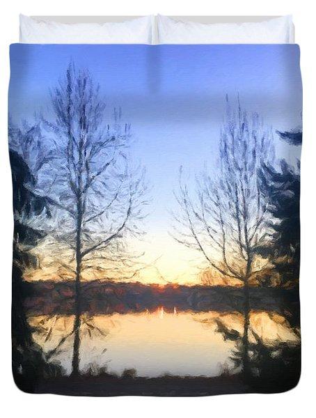 Greenlake Dawn Evergreens Duvet Cover
