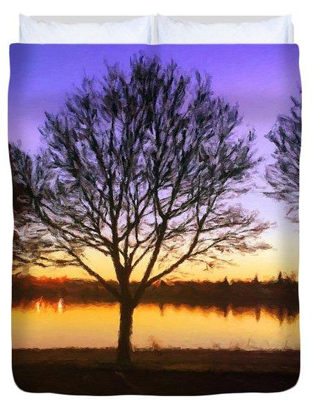 Greenlake Dawn Intensity Duvet Cover