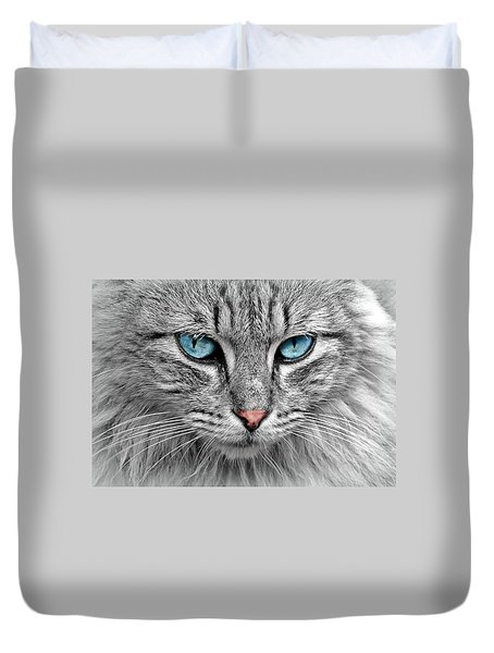 Grey Cat With Blue Eyes Duvet Cover