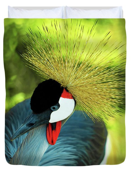 Duvet Cover featuring the painting Grey Crowned Crane Gulf Shores Ab A101218 by Mas Art Studio