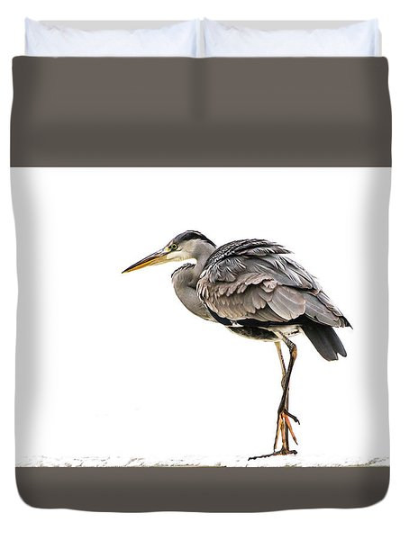 Grey Heron On Snow Duvet Cover
