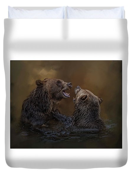 Grizzlies At Play Duvet Cover