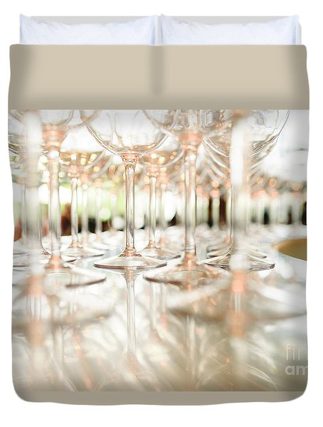 Group Of Empty Transparent Glasses Ready For A Party In A Bar. Duvet Cover