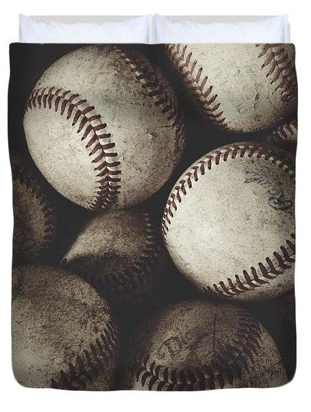 Grungy Baseballs On A Shelf Duvet Cover