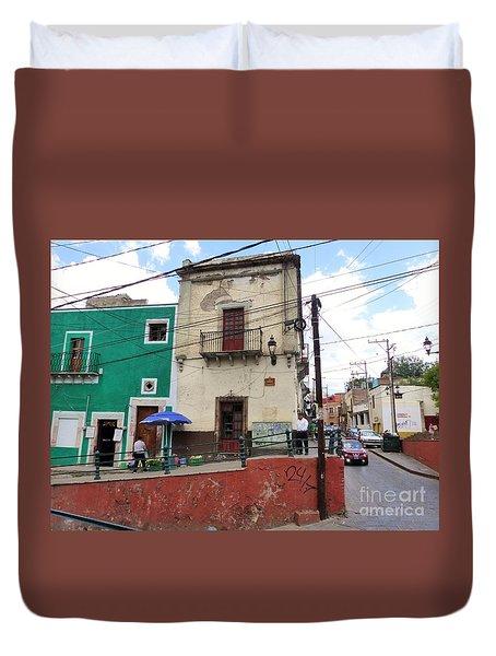 Duvet Cover featuring the photograph Guanajuato Street Corner by Rosanne Licciardi