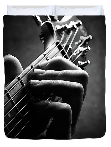 Guitarist Hand Close-up Duvet Cover