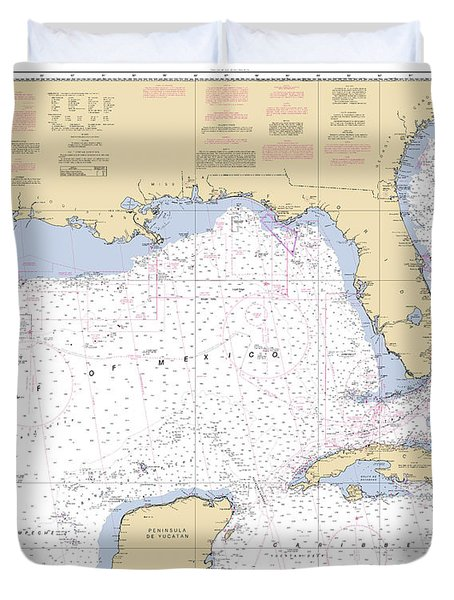 Gulf Of Mexico, Noaa Chart 411 Duvet Cover