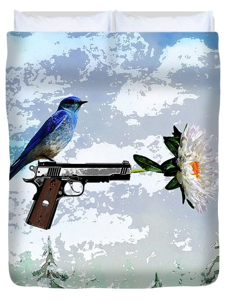 Bluebird Of Happiness- Flower In A Gun Duvet Cover